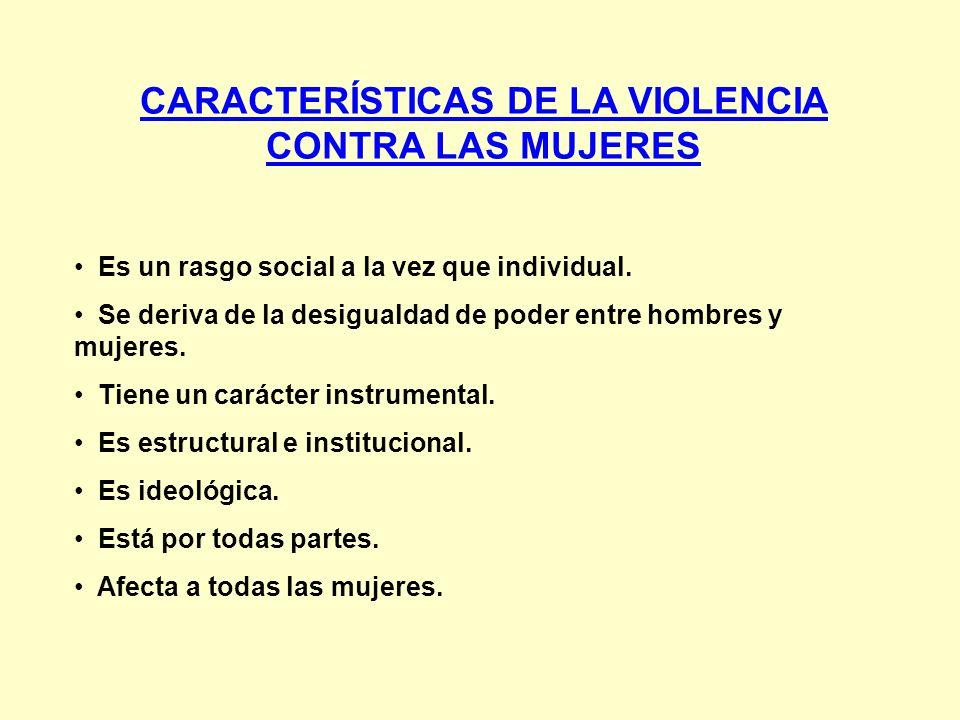 CARACTERÍSTICAS DE LA VIOLENCIA CONTRA LAS MUJERES