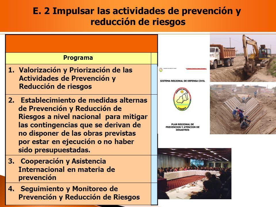 E. 2 Impulsar las actividades de prevención y