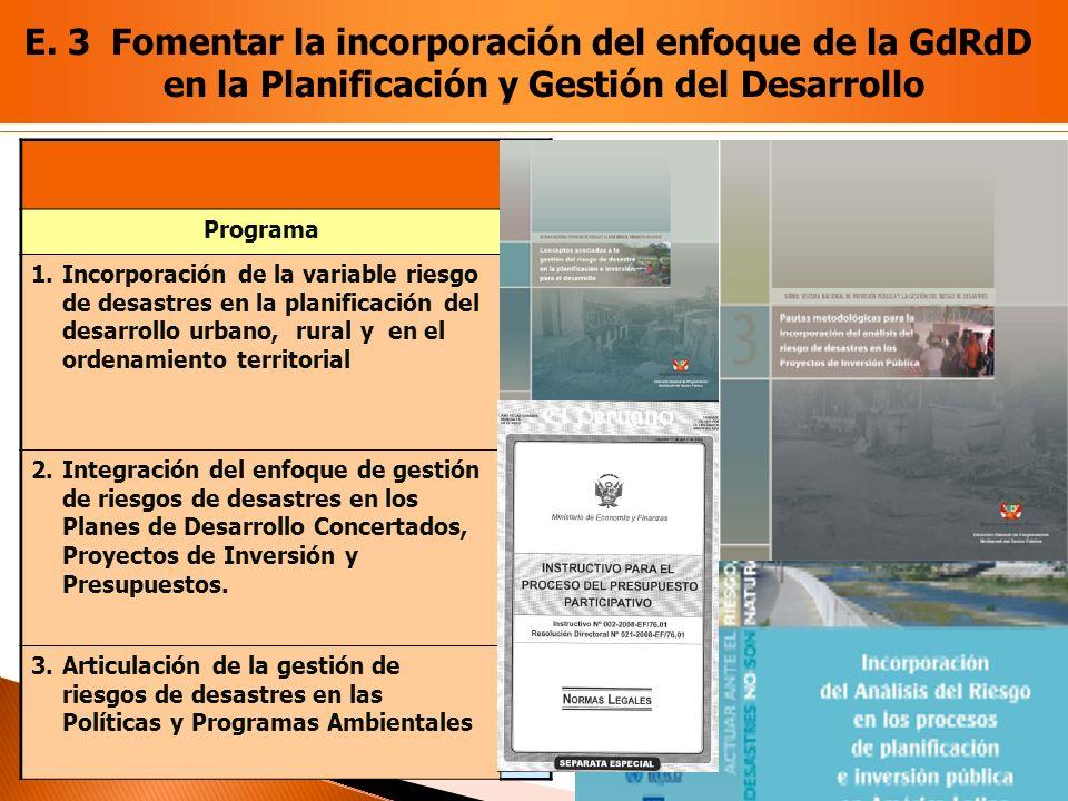 E. 3 Fomentar la incorporación del enfoque de la GdRdD