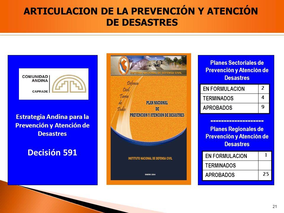 ARTICULACION DE LA PREVENCIÓN Y ATENCIÓN DE DESASTRES