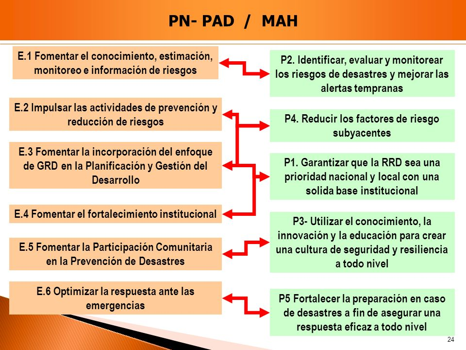 PN- PAD / MAH E.1 Fomentar el conocimiento, estimación, monitoreo e información de riesgos.