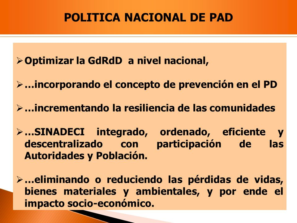 POLITICA NACIONAL DE PAD