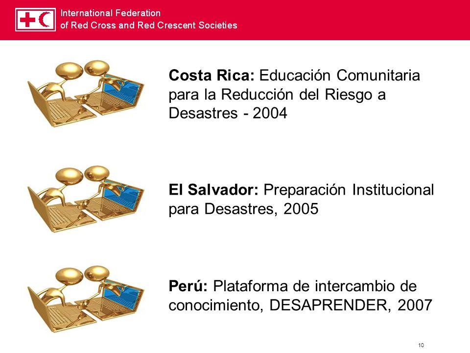 Costa Rica: Educación Comunitaria para la Reducción del Riesgo a Desastres - 2004