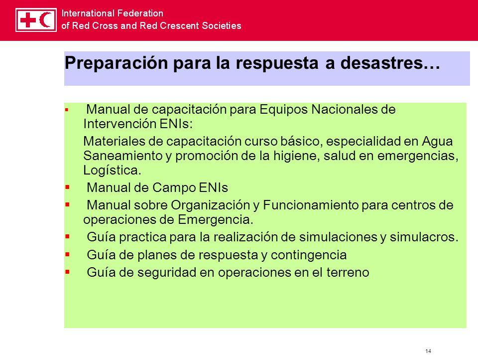 Preparación para la respuesta a desastres…