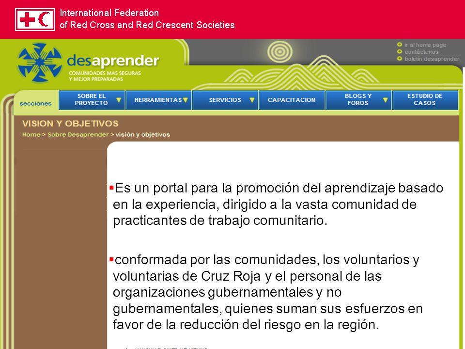 Es un portal para la promoción del aprendizaje basado en la experiencia, dirigido a la vasta comunidad de practicantes de trabajo comunitario.
