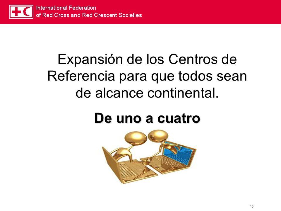 Expansión de los Centros de Referencia para que todos sean de alcance continental.