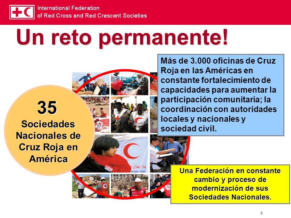 35 Sociedades Nacionales de Cruz Roja en América