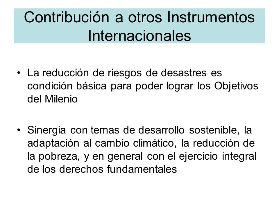Contribución a otros Instrumentos Internacionales