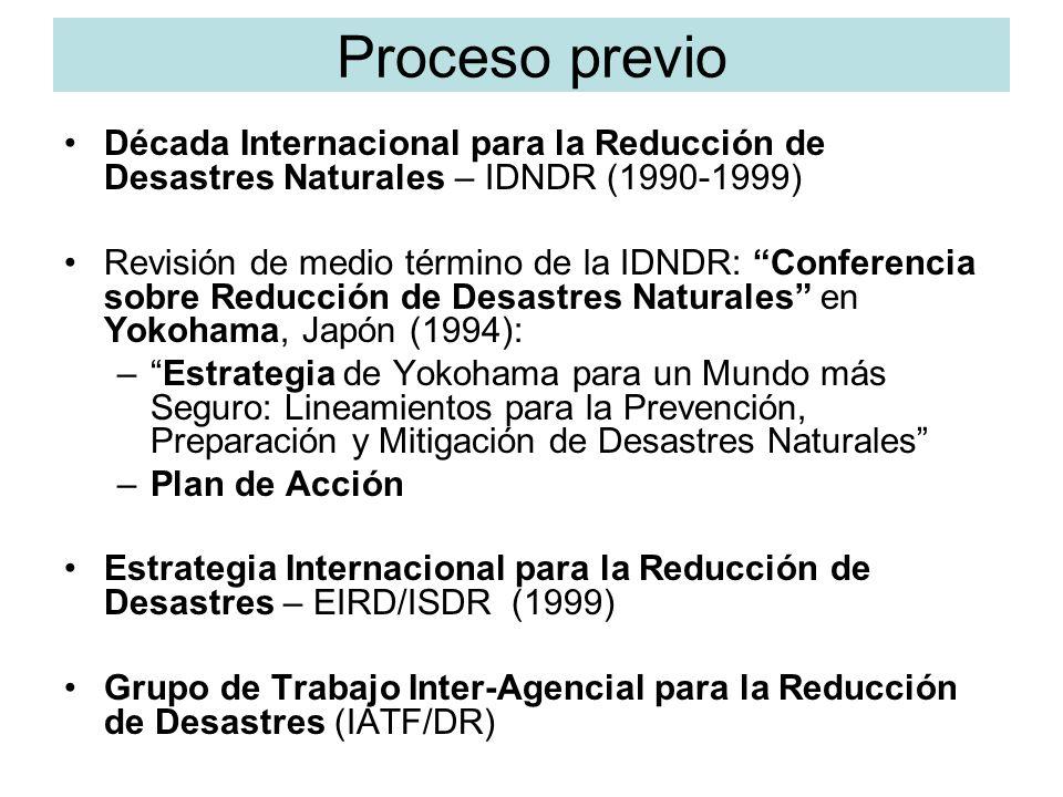 Proceso previoDécada Internacional para la Reducción de Desastres Naturales – IDNDR (1990-1999)