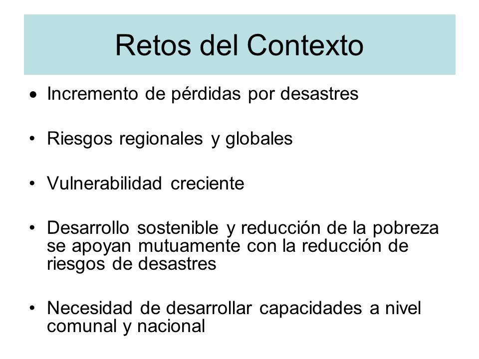 Retos del Contexto Incremento de pérdidas por desastres