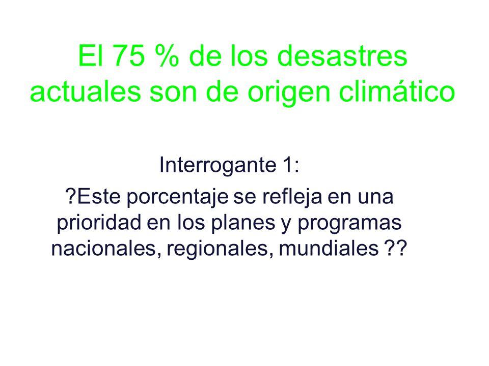 El 75 % de los desastres actuales son de origen climático