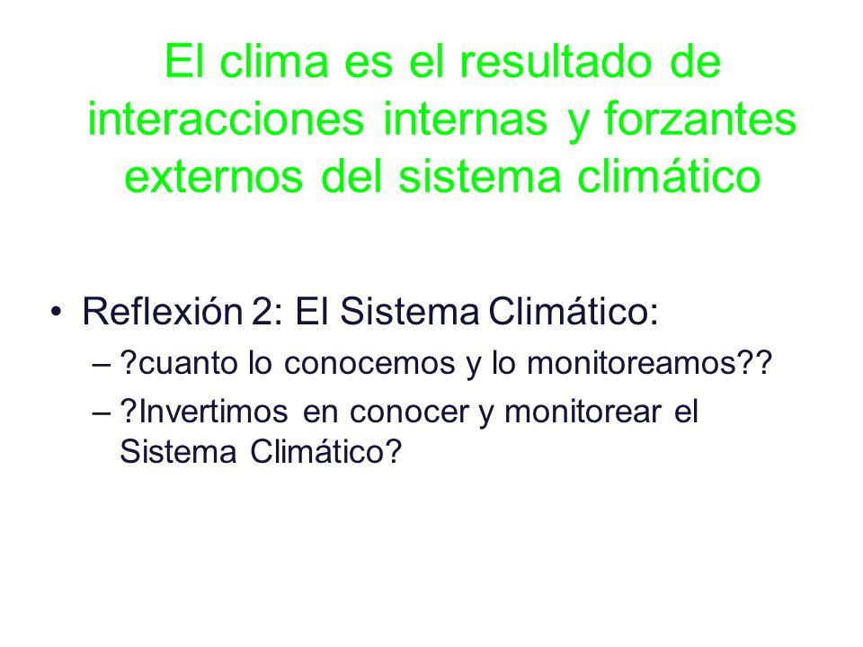 El clima es el resultado de interacciones internas y forzantes externos del sistema climático