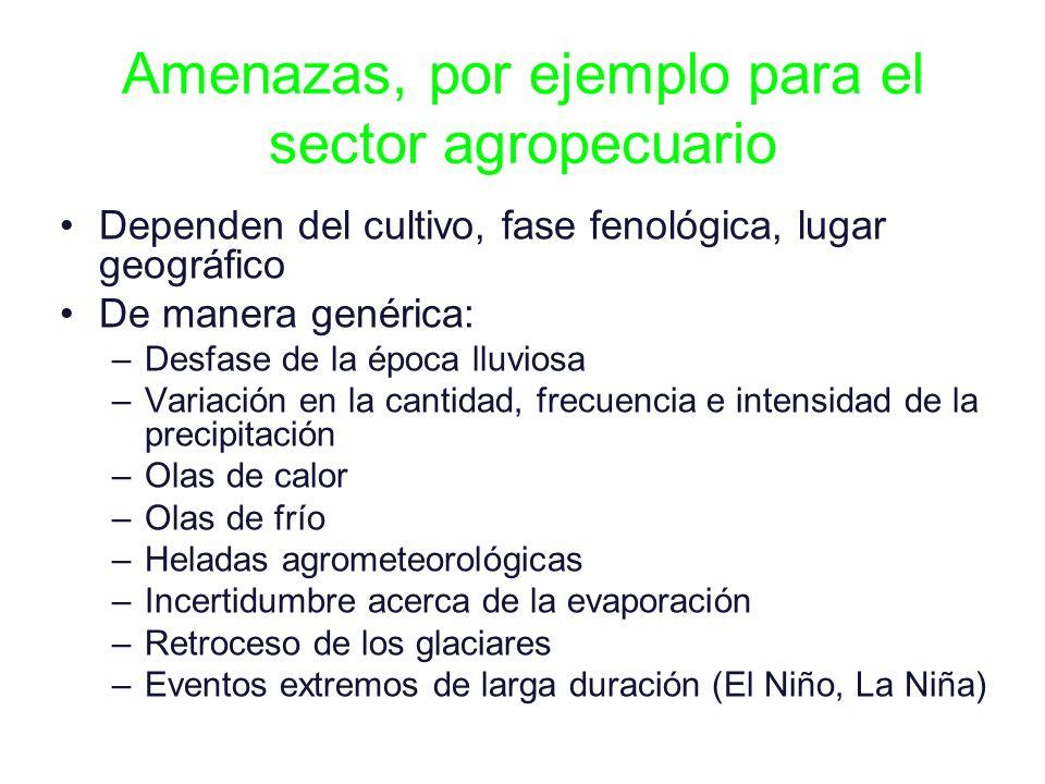 Amenazas, por ejemplo para el sector agropecuario