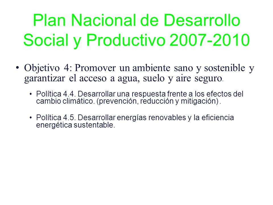Plan Nacional de Desarrollo Social y Productivo 2007-2010