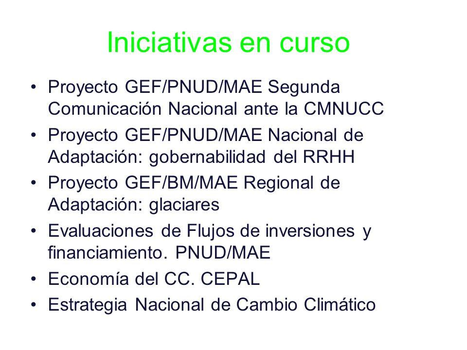 Iniciativas en curso Proyecto GEF/PNUD/MAE Segunda Comunicación Nacional ante la CMNUCC.