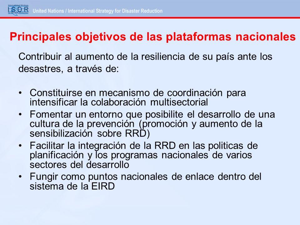 Principales objetivos de las plataformas nacionales