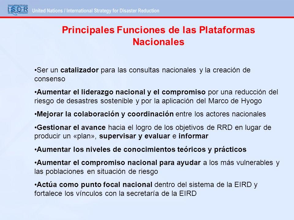 Principales Funciones de las Plataformas Nacionales