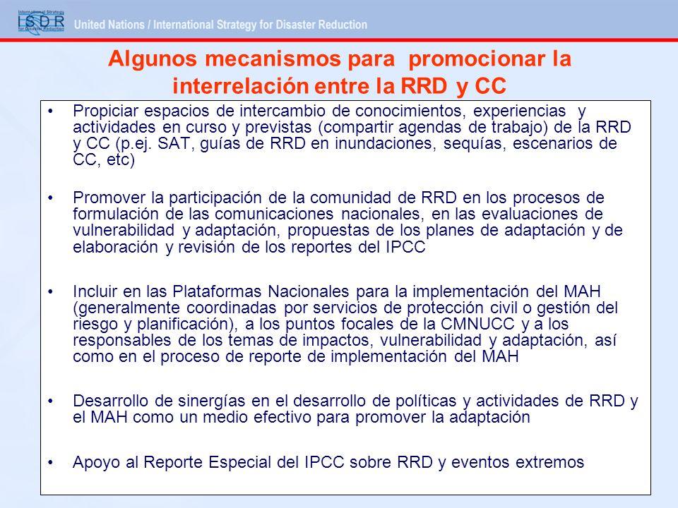 Algunos mecanismos para promocionar la interrelación entre la RRD y CC