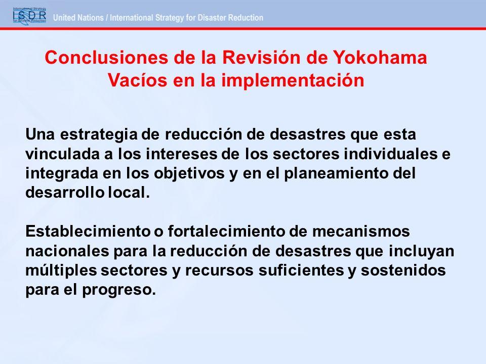 Conclusiones de la Revisión de Yokohama Vacíos en la implementación