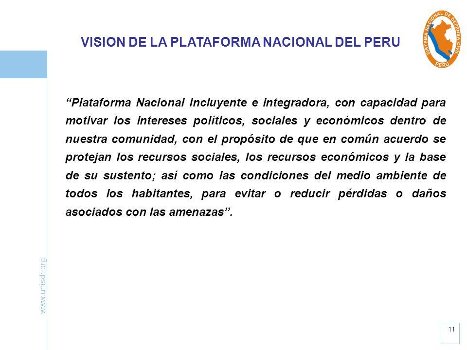 VISION DE LA PLATAFORMA NACIONAL DEL PERU