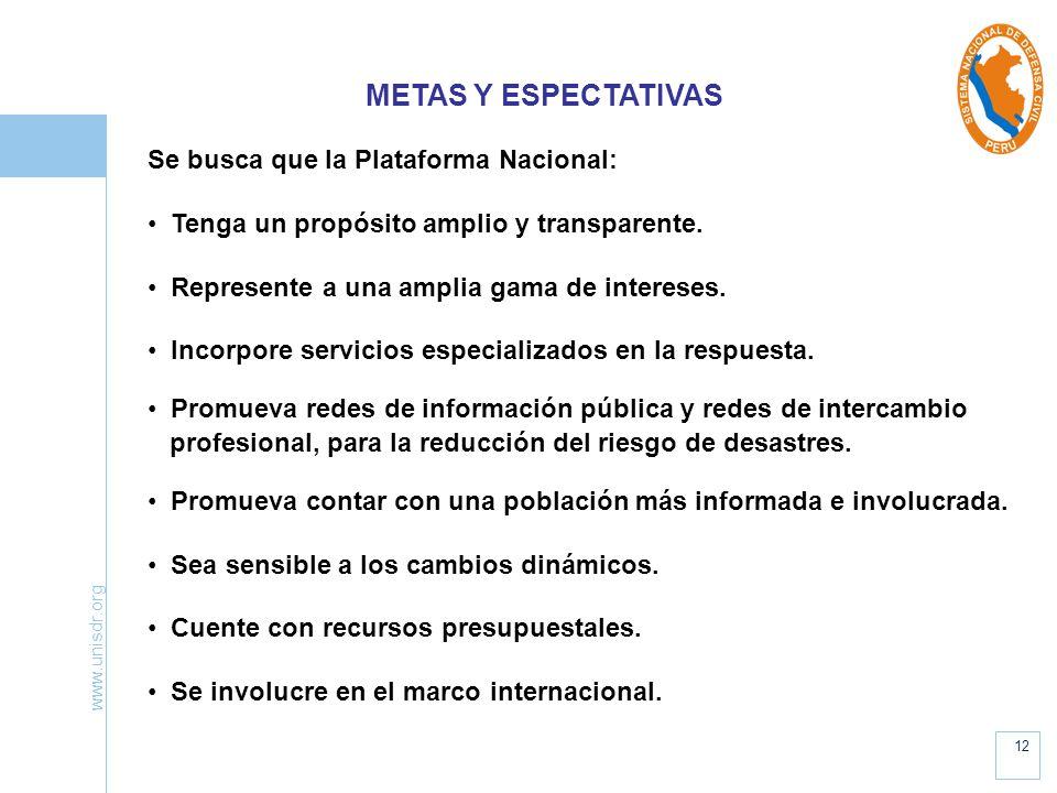 METAS Y ESPECTATIVAS Se busca que la Plataforma Nacional: