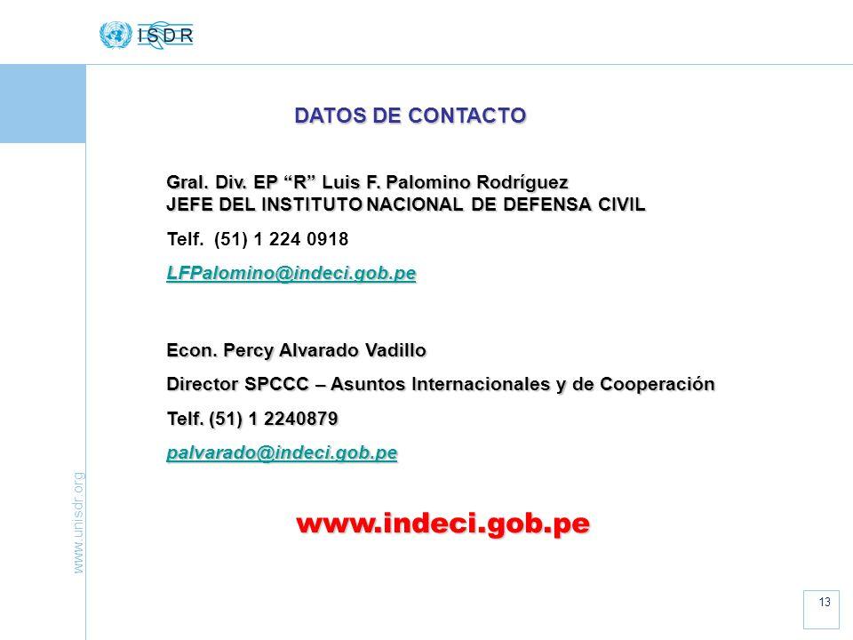 www.indeci.gob.pe DATOS DE CONTACTO