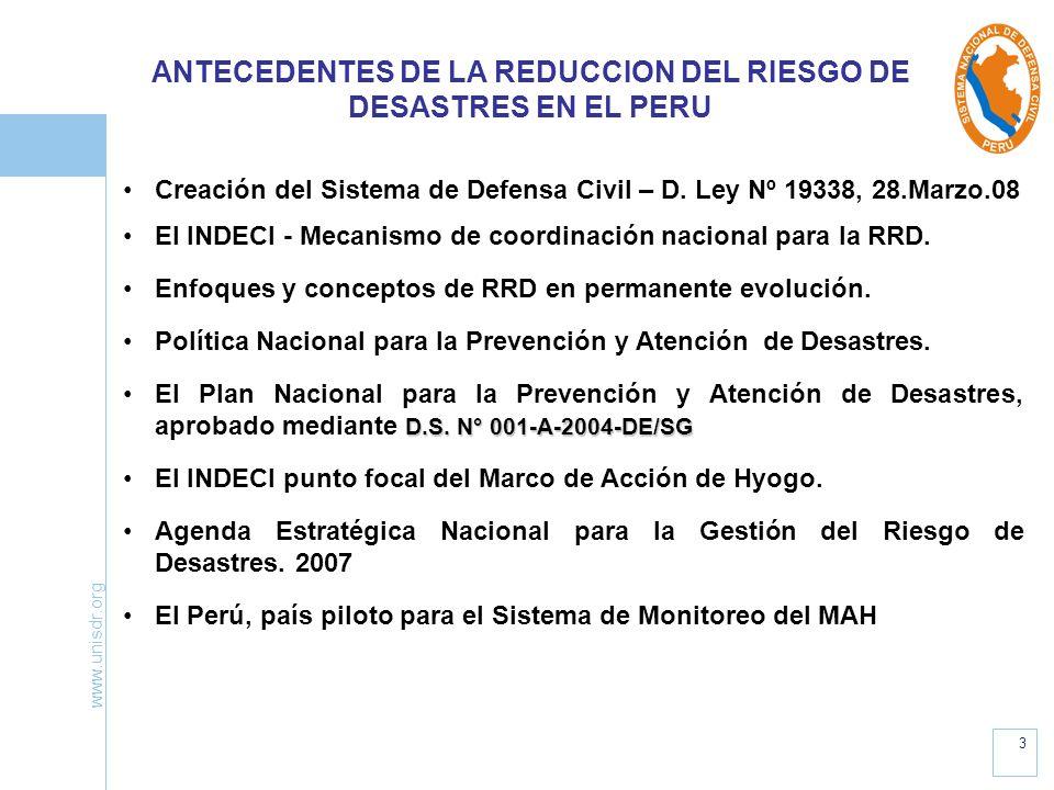 ANTECEDENTES DE LA REDUCCION DEL RIESGO DE DESASTRES EN EL PERU