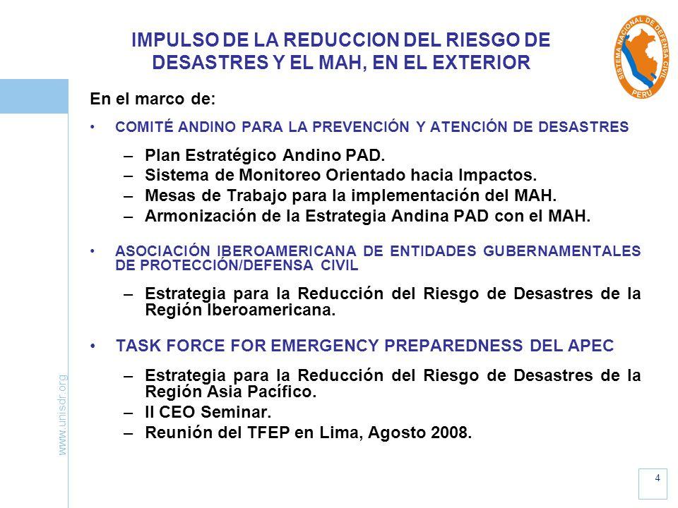 IMPULSO DE LA REDUCCION DEL RIESGO DE DESASTRES Y EL MAH, EN EL EXTERIOR