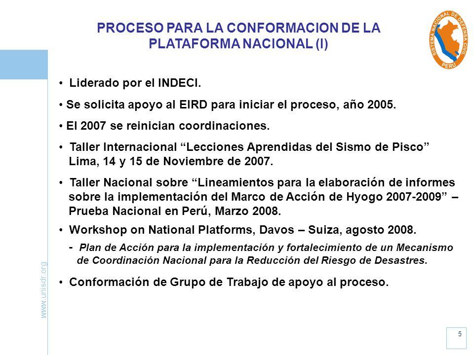 PROCESO PARA LA CONFORMACION DE LA PLATAFORMA NACIONAL (I)