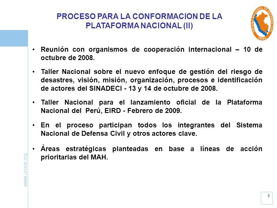 PROCESO PARA LA CONFORMACION DE LA PLATAFORMA NACIONAL (II)