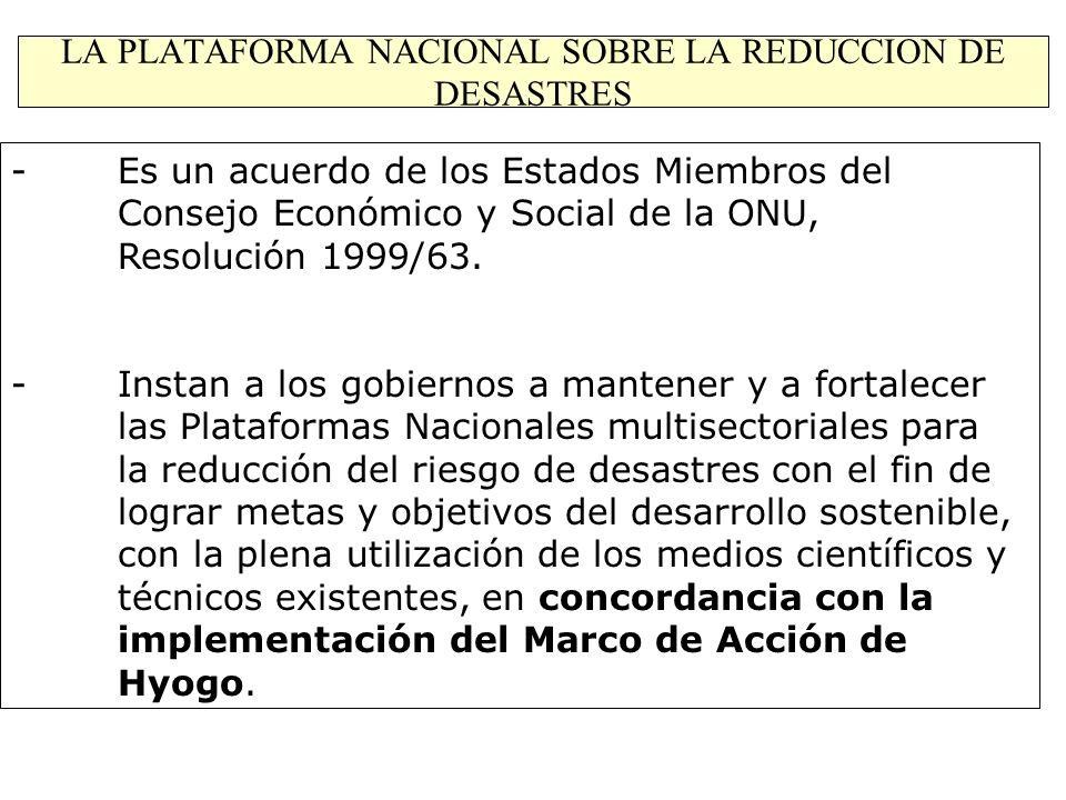 LA PLATAFORMA NACIONAL SOBRE LA REDUCCION DE DESASTRES