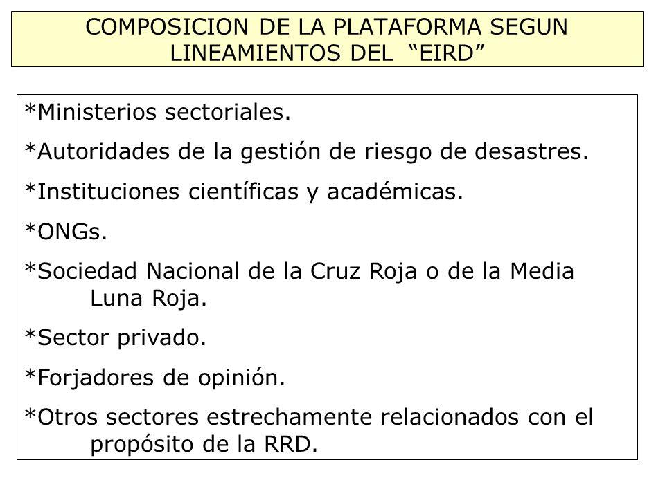COMPOSICION DE LA PLATAFORMA SEGUN LINEAMIENTOS DEL EIRD