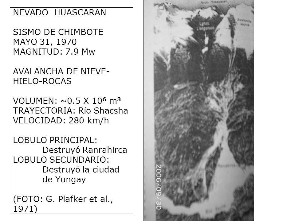 NEVADO HUASCARAN SISMO DE CHIMBOTE MAYO 31, 1970 MAGNITUD: 7