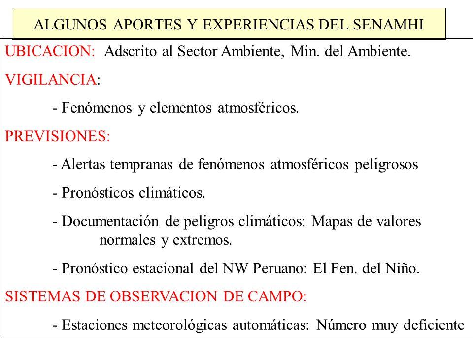 ALGUNOS APORTES Y EXPERIENCIAS DEL SENAMHI