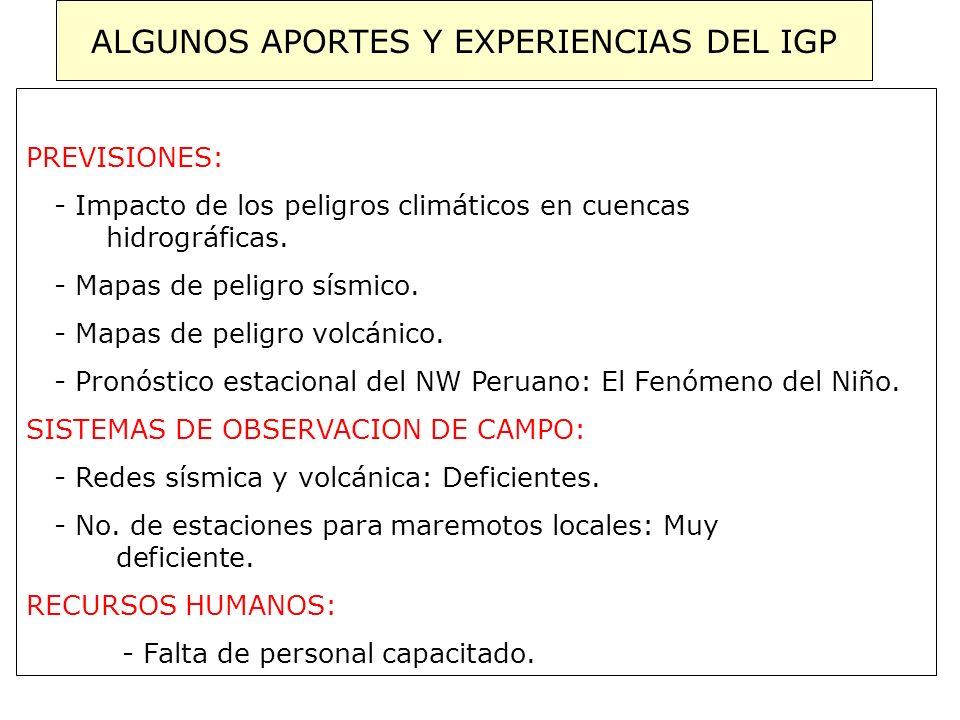 ALGUNOS APORTES Y EXPERIENCIAS DEL IGP