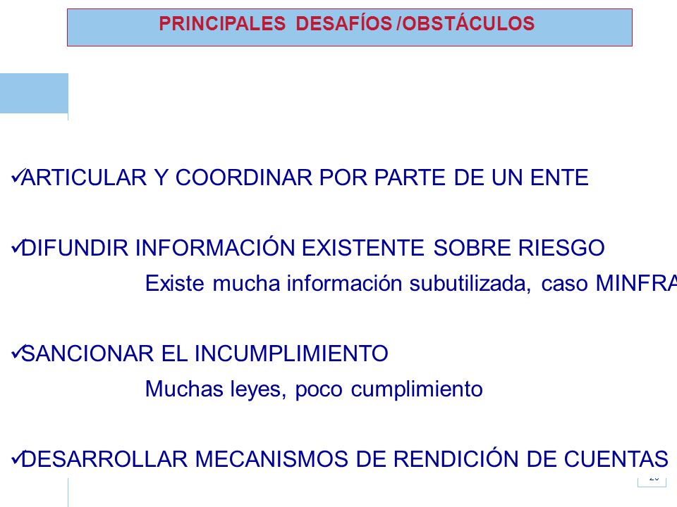 PRINCIPALES DESAFÍOS /OBSTÁCULOS
