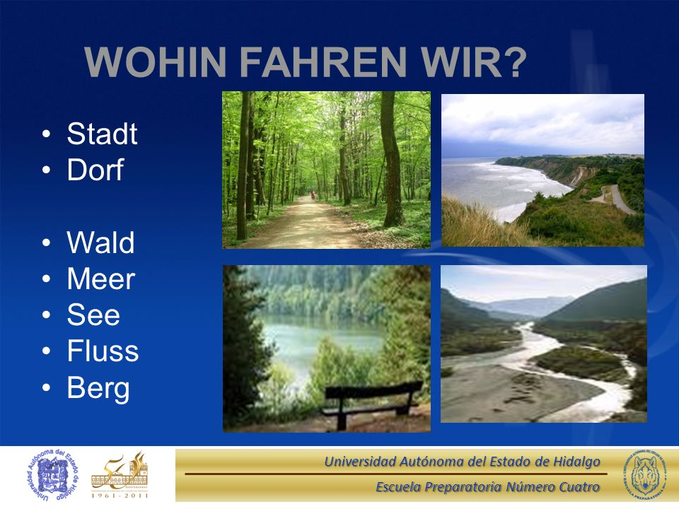 WOHIN FAHREN WIR Stadt Dorf Wald Meer See Fluss Berg