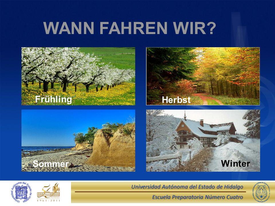 WANN FAHREN WIR Herbst Frühling Winter Sommer