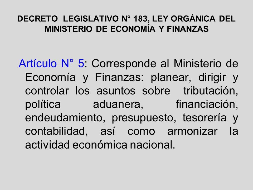 DECRETO LEGISLATIVO N° 183, LEY ORGÁNICA DEL MINISTERIO DE ECONOMÍA Y FINANZAS