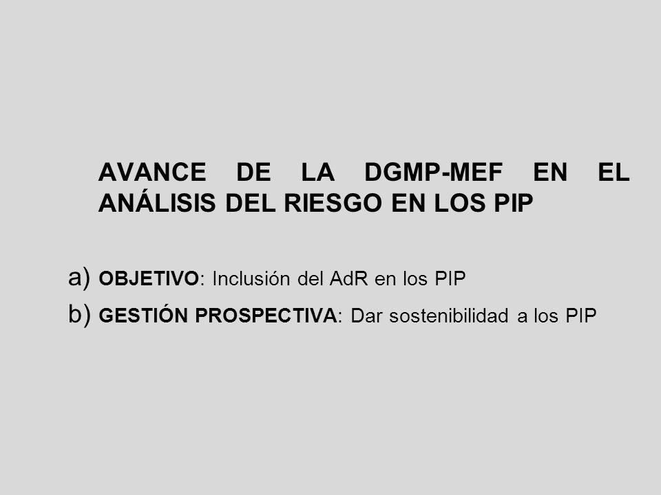 AVANCE DE LA DGMP-MEF EN EL ANÁLISIS DEL RIESGO EN LOS PIP