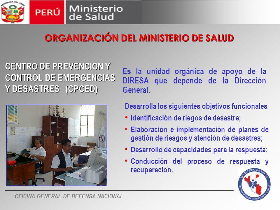 ORGANIZACIÓN DEL MINISTERIO DE SALUD