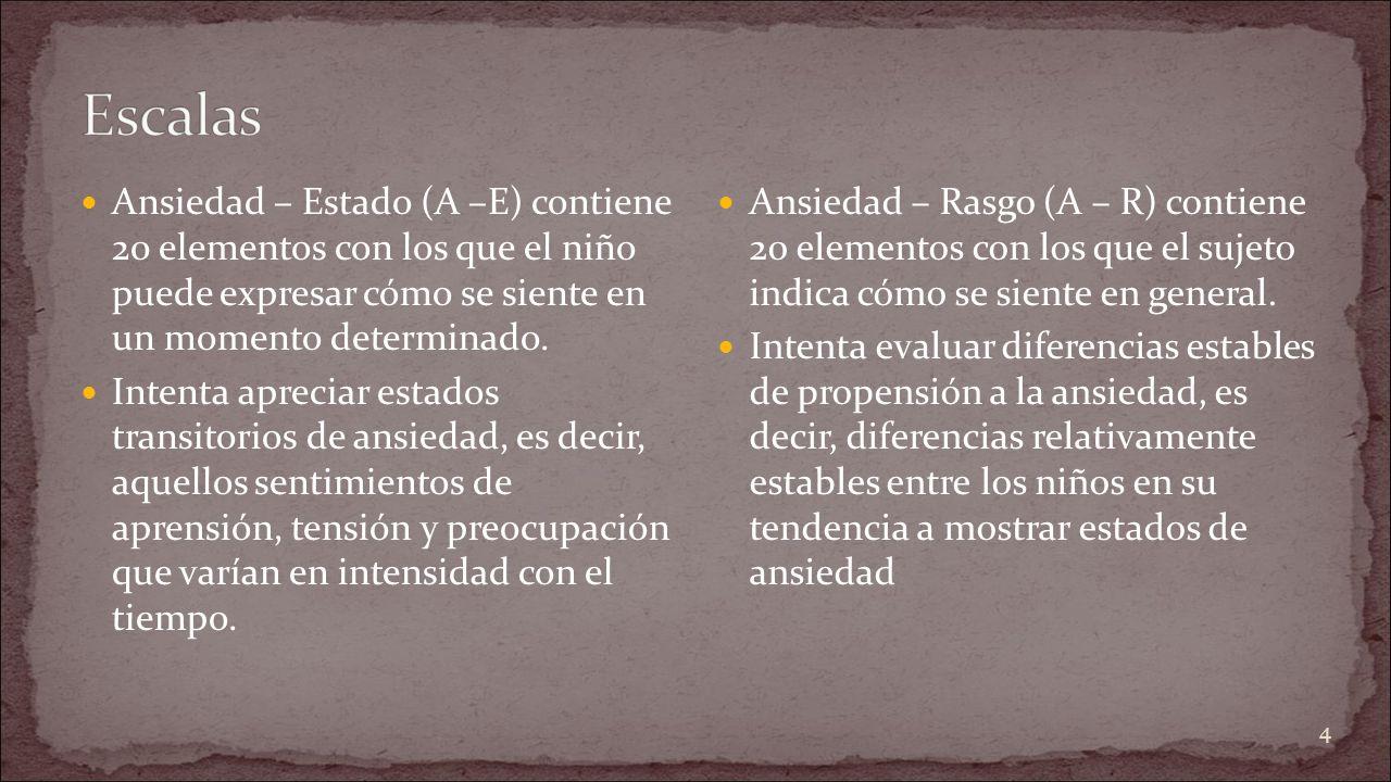 Escalas Ansiedad – Estado (A –E) contiene 20 elementos con los que el niño puede expresar cómo se siente en un momento determinado.