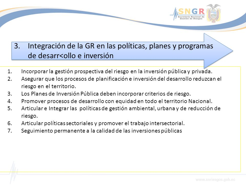 Integración de la GR en las políticas, planes y programas de desarr<ollo e inversión