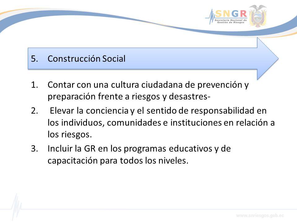 Construcción Social Contar con una cultura ciudadana de prevención y preparación frente a riesgos y desastres-