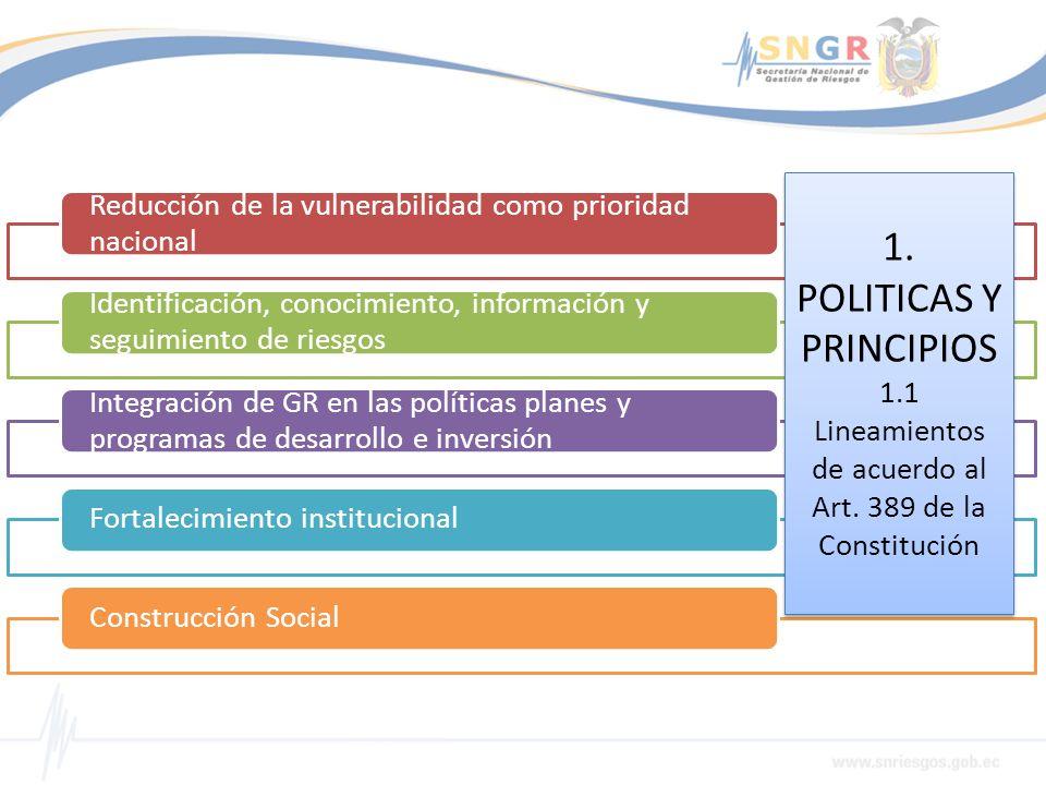 1. POLITICAS Y PRINCIPIOS 1. 1 Lineamientos de acuerdo al Art