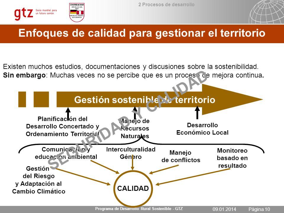 SEGURIDAD Y CALIDAD Enfoques de calidad para gestionar el territorio