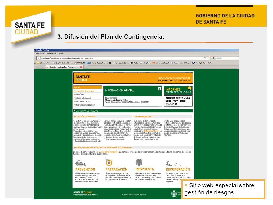 3. Difusión del Plan de Contingencia.