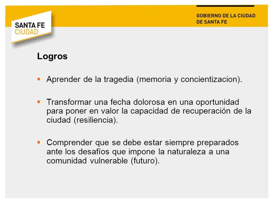 Logros Aprender de la tragedia (memoria y concientizacion).
