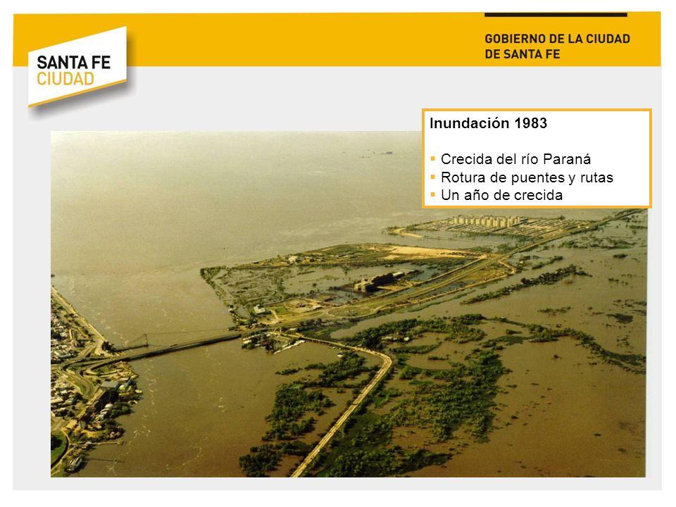 Inundación 1983 Crecida del río Paraná Rotura de puentes y rutas Un año de crecida