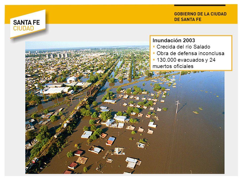 Inundación 2003 Crecida del río Salado. Obra de defensa inconclusa.